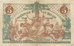5 Francs BELGIQUE  1919 P.075b TB