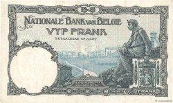 5 Francs BELGIQUE  1922 P.093 TTB
