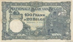 100 Francs - 20 Belgas BELGIQUE  1929 P.102 TB+