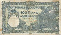 100 Francs - 20 Belgas BELGIQUE  1931 P.102 B+