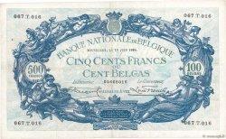 500 Francs - 100 Belgas BELGIQUE  1928 P.103a TTB