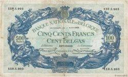 500 Francs - 100 Belgas BELGIQUE  1929 P.103a B+