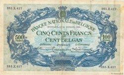 500 Francs - 100 Belgas BELGIQUE  1932 P.103a pr.TTB