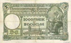 1000 Francs - 200 Belgas BELGIQUE  1928 P.104 TB