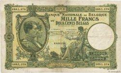 1000 Francs - 200 Belgas BELGIQUE  1930 P.104 pr.TTB