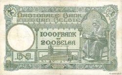 1000 Francs - 200 Belgas BELGIQUE  1934 P.104 TB+