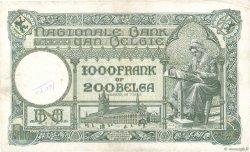 1000 Francs - 200 Belgas BELGIQUE  1935 P.104 TB