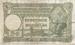 1000 Francs - 200 Belgas BELGIQUE  1938 P.104 TB