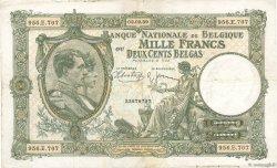 1000 Francs - 200 Belgas BELGIQUE  1939 P.104 TB