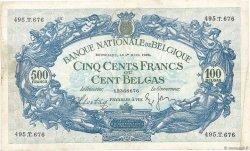 500 Francs - 100 Belgas BELGIQUE  1938 P.109 TB+