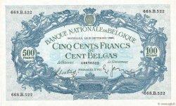 500 Francs - 100 Belgas BELGIQUE  1938 P.109 SUP