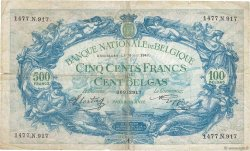 500 Francs - 100 Belgas BELGIQUE  1943 P.109 B