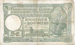 1000 Francs - 200 Belgas BELGIQUE  1944 P.110 B+