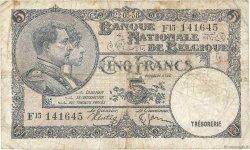 5 Francs BELGIQUE  1938 P.108a B