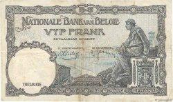 5 Francs BELGIQUE  1938 P.108a TB+