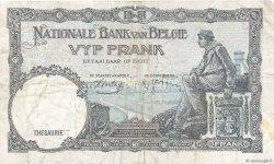5 Francs BELGIQUE  1938 P.108a TTB