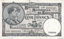 5 Francs BELGIQUE  1938 P.108x TTB