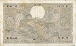 100 Francs - 20 Belgas BELGIQUE  1935 P.107 TB