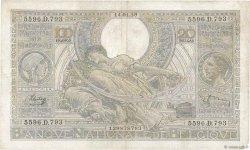 100 Francs - 20 Belgas BELGIQUE  1939 P.107 TTB