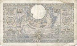 100 Francs - 20 Belgas BELGIQUE  1942 P.107 TB