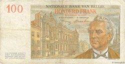 100 Francs BELGIQUE  1952 P.129a TB