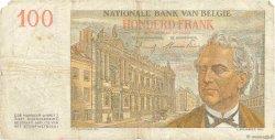 100 Francs BELGIQUE  1953 P.129b TB