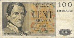 100 Francs BELGIQUE  1957 P.129c TB
