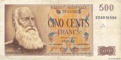 500 Francs BELGIQUE  1958 P.130 TB
