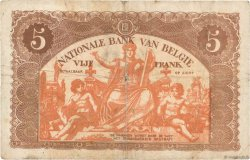 5 Francs BELGIQUE  1919 P.074b TB