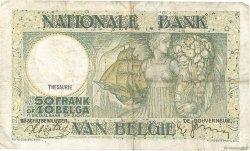 50 Francs - 10 Belgas BELGIQUE  1938 P.106 TB