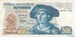500 Francs BELGIQUE  1968 P.135a TTB