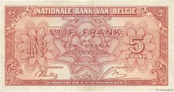 5 Francs BELGIQUE  1943 P.121 TTB+