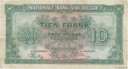 10 Francs - 2 Belgas BELGIQUE  1943 P.122 TB