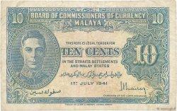 10 Cents MALAYA  1941 P.08 TB