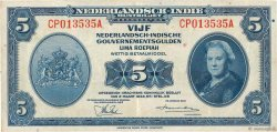 5 Gulden NETHERLANDS INDIES  1943 P.113a aXF