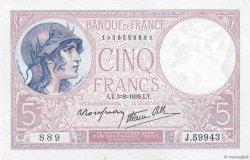 5 Francs VIOLET modifié FRANCE  1939 F.04.04 SUP+