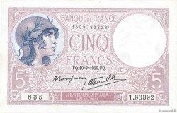 5 Francs VIOLET modifié FRANCE  1939 F.04.05 SUP+