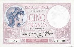 5 Francs VIOLET modifié FRANCE  1939 F.04.11 SUP+