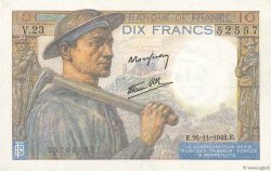 10 Francs MINEUR FRANCE  1942 F.08.06 SPL