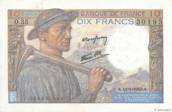 10 Francs MINEUR FRANCE  1943 F.08.07 SUP