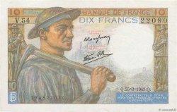 10 Francs MINEUR FRANCE  1943 F.08.08 SUP+
