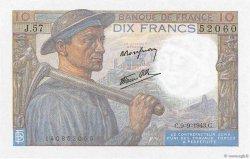 10 Francs MINEUR FRANCE  1943 F.08.09 NEUF