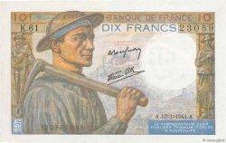 10 Francs MINEUR FRANCIA  1944 F.08.10 q.FDC
