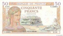 50 Francs CÉRÈS modifié FRANCE  1940 F.18.42 SUP