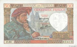50 Francs JACQUES CŒUR FRANCE  1940 F.19.03 SPL