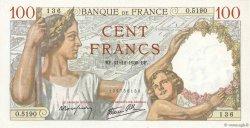 100 Francs SULLY FRANCE  1939 F.26.18 SPL+