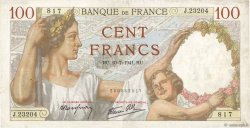 100 Francs SULLY FRANCE  1941 F.26.55 TTB