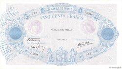 500 Francs BLEU ET ROSE modifié FRANCE  1938 F.31.10 TTB+