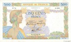 500 Francs LA PAIX FRANCE  1940 F.32.02 TTB+