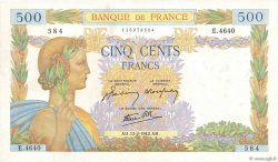 500 Francs LA PAIX FRANCE  1942 F.32.29 pr.SUP